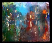 City In The Rain With Figures
