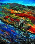 Man With Mountain Stream