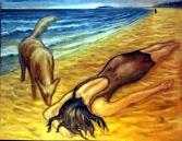 DOG WITH WOMAN ON BEACH