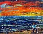 boy by the sea with orange sky