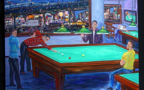 Arthur Robins Pool Paintings Revelation Fine Art Rare And One Of - Pool table painting
